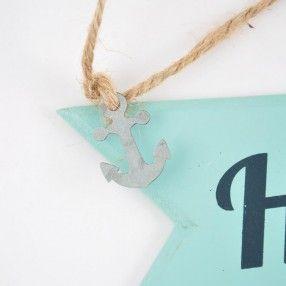 """Schild """"Heimathafen"""" Holz aqua 30x9cm - idee. Online-Shop"""