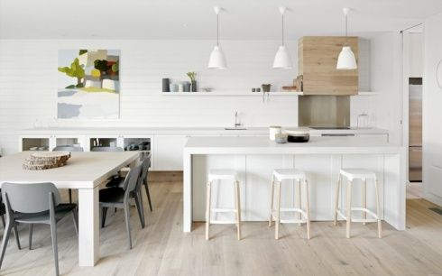 Kitchens with light wooden floors - ideas