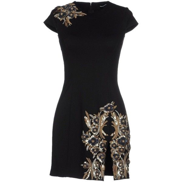 Dsquared2 Black Jewel Embellished Mini Fitted Dress ($1,000) ❤ liked on Polyvore featuring dresses, black, embellished cocktail dress, fitted cocktail dresses, embroidered dress, short fitted dresses and sequin mini dress