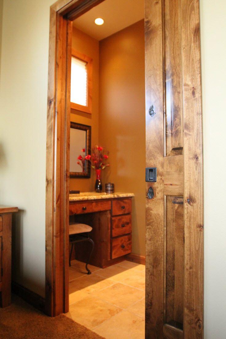 Pocket Door Hardware Knotty Alder Pocket Door Conserves Space In This Bathroom Bayer Built