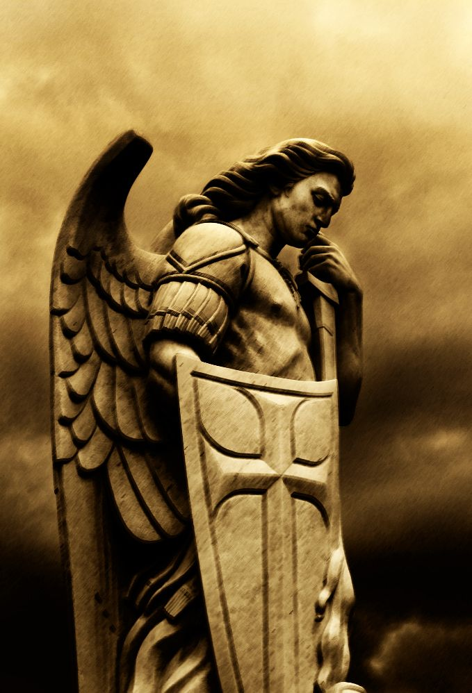 """God's Archangel- St. Michael, defends us in battle, protects us against the wicked snares of the devil...Psalm 91:11,12; """"For he will command his angels concerning you to guard you in all your ways; they will lift you up in their hands, so that you will not strike your foot against a stone."""""""