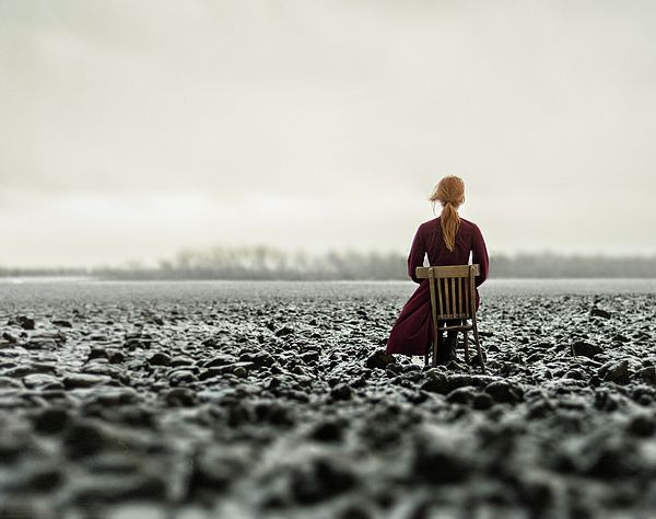 """Woman in the Field. The Final by Inna Mosina.   Series: About long waiting.   ...And it comes to be That the soothing light at the end of your tunnel Is just a freight train coming your way.""""  Metallica song  #RussianArtistsNewWave #StoryArt #FineArtPhotography #IrinaMosina"""