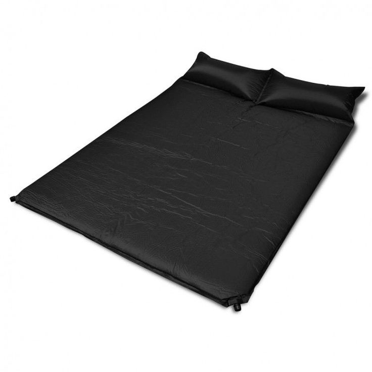 Double Inflatable Mattress Built In Pillow Black Airbed Waterproof Comfort Home #DoubleInflatableMattress #Modern