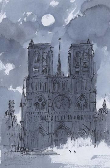 Notre Dame by moonlight from The Hunchback of Notre Dame, by Victor Hugo | Quentin Blake