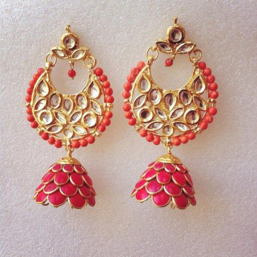 Coral Kundan PAchi Earrings - Online Shopping for Earrings by Ze Panache
