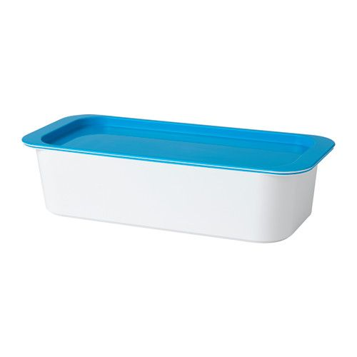 IKEA - GESSAN, Box with lid, , A clever and stackable storage solution for smaller personal items that also fits the drawers and sink of YDDINGEN sink cabinet perfectly.Easy to clean.