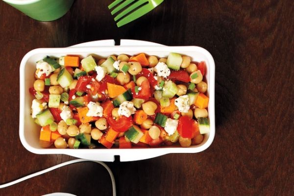 Our tomato and chickpea salad is a great make-ahead lunch or side dish for your next barbecue. Photo by Jeff Coulson.