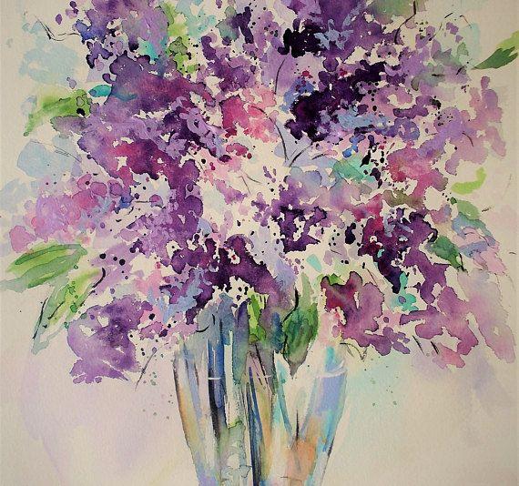 Original lilacs watercolor painting on paper,lilac painting,lilacs in vase,white lilacs,lilacs painting,flowers watercolor,floral painting