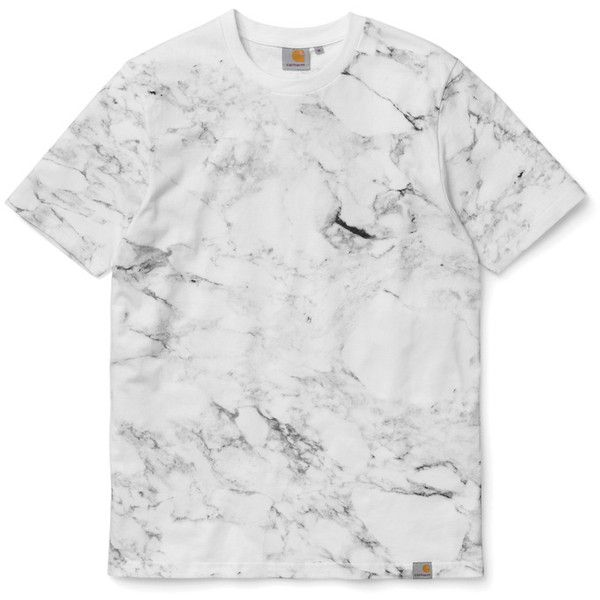 """Carhartt WIP 2014 Fall/Winter """"Marble"""" T-Shirt ❤ liked on Polyvore featuring tops, t-shirts, carhartt tee, carhartt t shirt, marble top, black and white t shirt and black white top"""