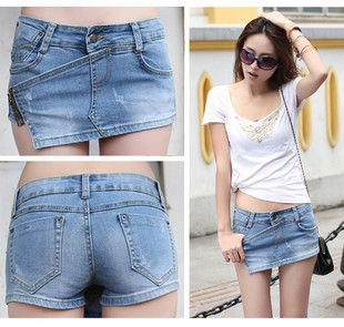 Free shipping 2013 summer fashion women blue denim short pant skirt Beach shorts skirtpant jeans plus size S-XL lady's trousers
