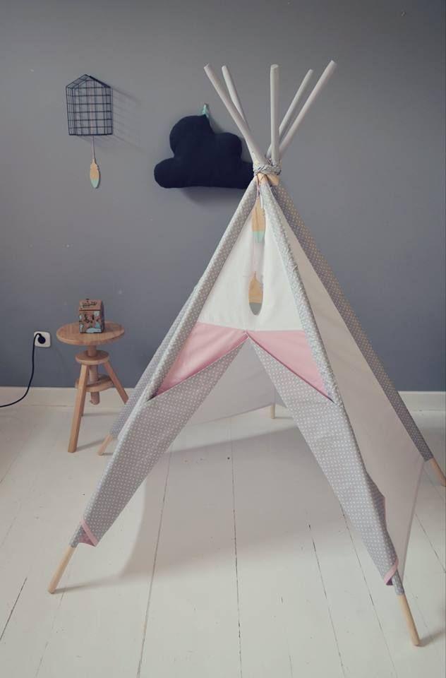 littlenomad teepee tipi wigwam play tent handmade white gray  pink kidsroom https://www.facebook.com/HelloLittleNomad