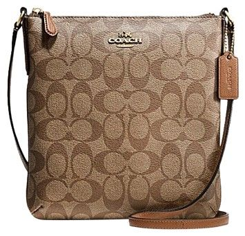 Coach F35940 North/south In Signature Khaki/Saddle Cross Body Bag on Sale, 39% Off   Cross Body Bags on Sale at Tradesy