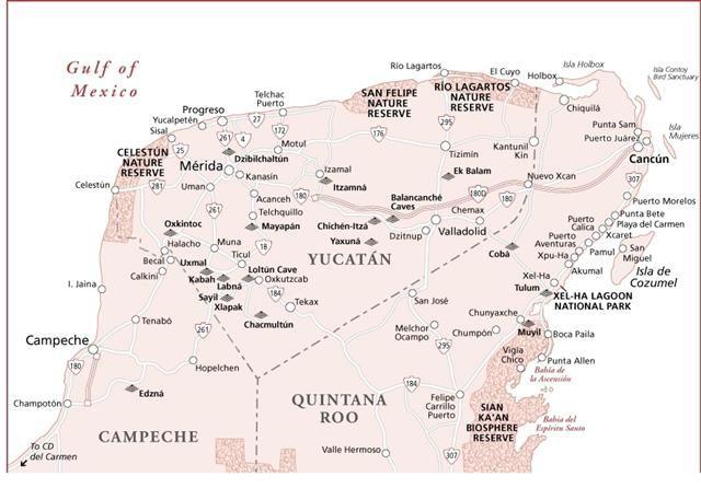 maps,directions,buses and travel to Rio lagartos Yucatan