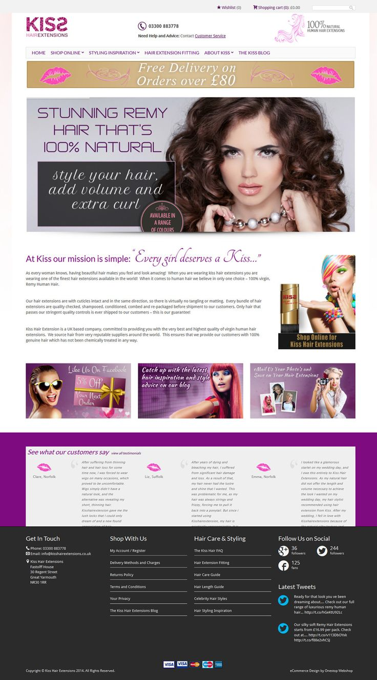 Website development for Kiss Hair Extensions based on the #WooCommerce #eCommerce platform, enabling Kiss to sell their range of hair extensions online.  View the live store at https://www.kisshairextensions.co.uk