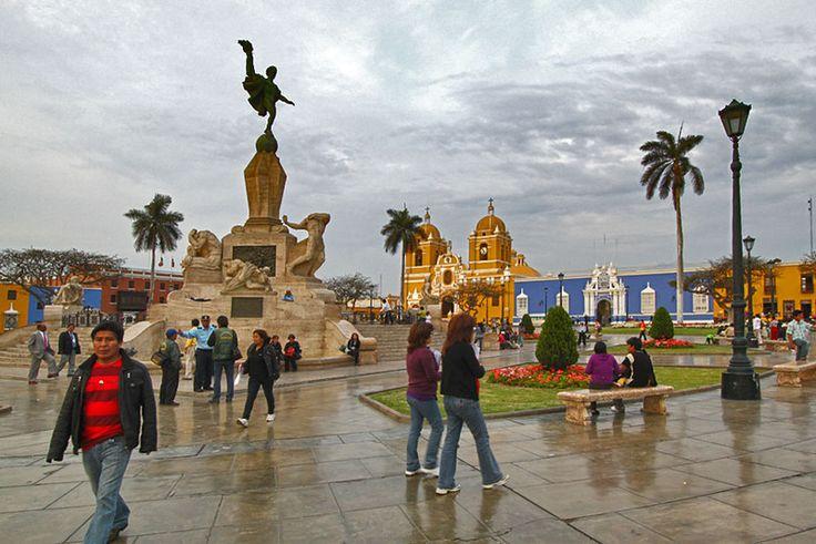 Sun Sets Over Plaza de Armas, the Main Square in Trujillo, Peru