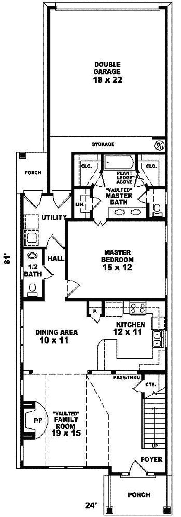 121 best house plans images on pinterest house floor for Narrow lot 4 bedroom house plans