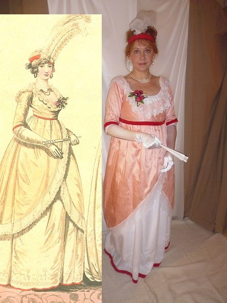 Regency dress 1799.  Projekt for Edition of Fashion plays 2016. Evening dress, 1799, Fashion Galery, No. 219. Petticoat is made with an embroidered border, decorated with a scarlet satin ribbon. Jacket is made of salmon colored sarcenet. Used fabrics: soft cotton for petticoat and dupioni silk for jacket. All hand sewing.