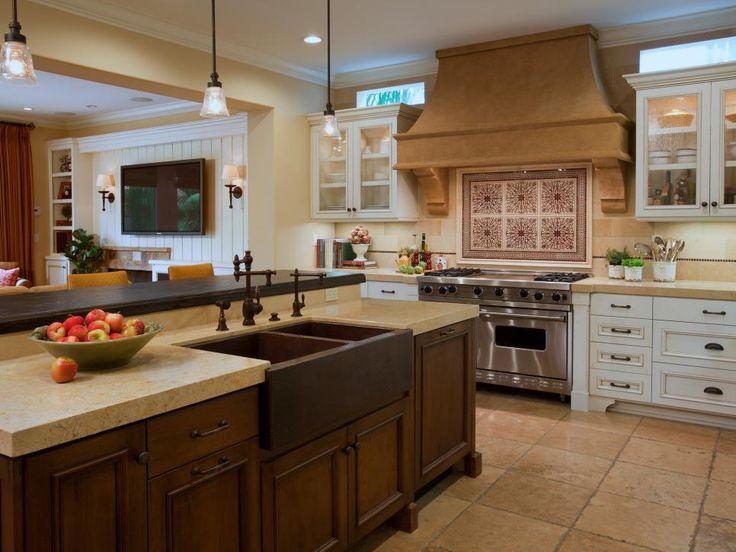 cool hood beams  Mediterranean kitchen Wood kitchen