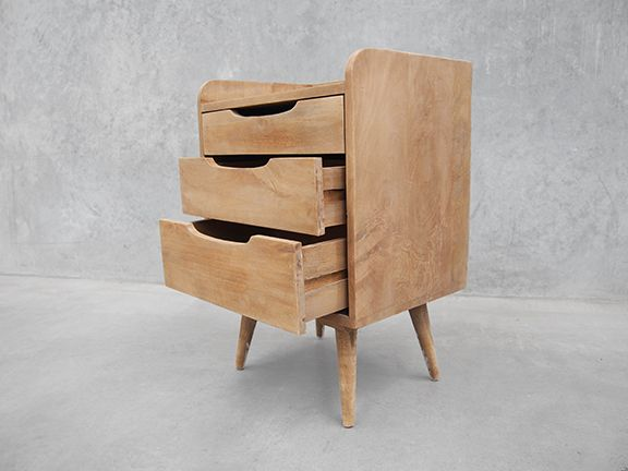 Contemporary Bedside Table Three Drawers - Alexander