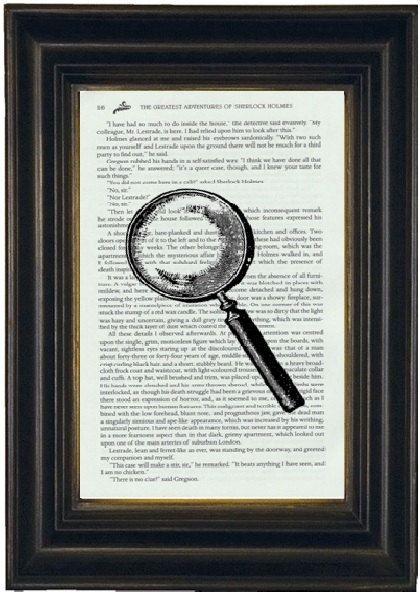 Sherlock Holmes Book Print Sherlock Homes Art by OwlsNestCottage