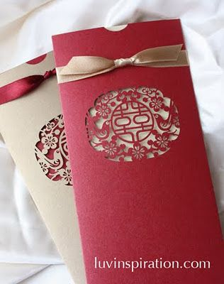 this invitation features a couple of magpie birds - Chinese Wedding Invitations