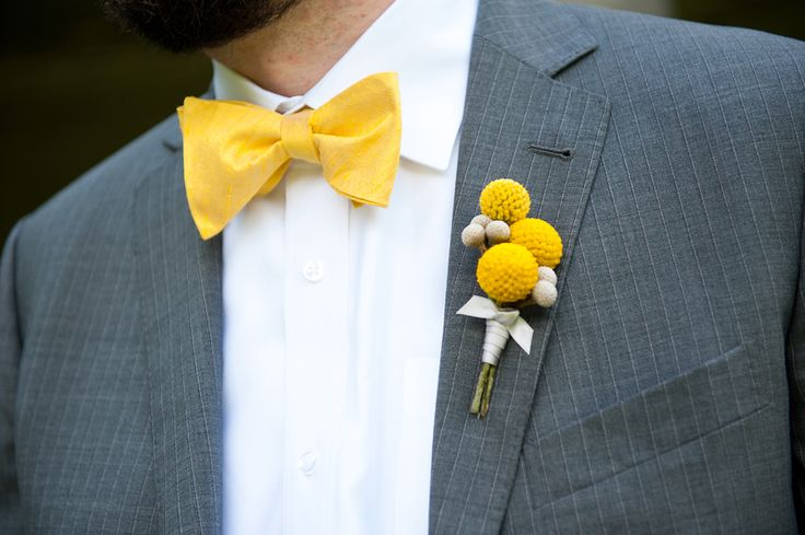 Yellow bowtie. So cute! Craspedia boutonniere by Beautiful Blooms. Lorraine Daley Wedding Photography
