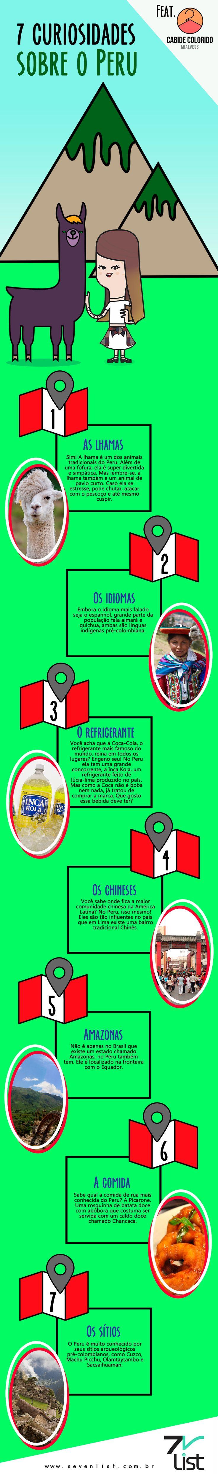O Peru é um país da América Latina que se localiza no hemisfério sul ocidental. Banhado pelo oceano pacífico a oeste, ele está em fronteira com o Chile, Brasil, Bolívia, Equador e Colômbia. Ele é um país incrível, cheio de cultura e curisiosidades super interessantes. #SevenList #CabideColorido #Peru #AMericaLatina #Trip #Travel #Curiosidades