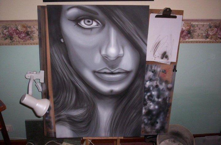 Airbrushed MDF with ink.