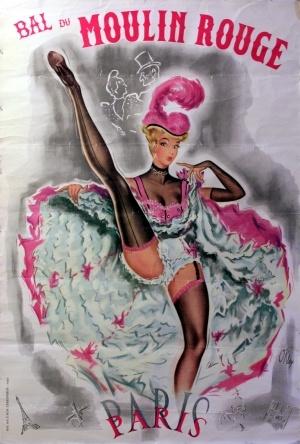 Bal Du Moulin Rouge, 1956 - original vintage poster by Pierre Okley listed on AntikBar.co.uk