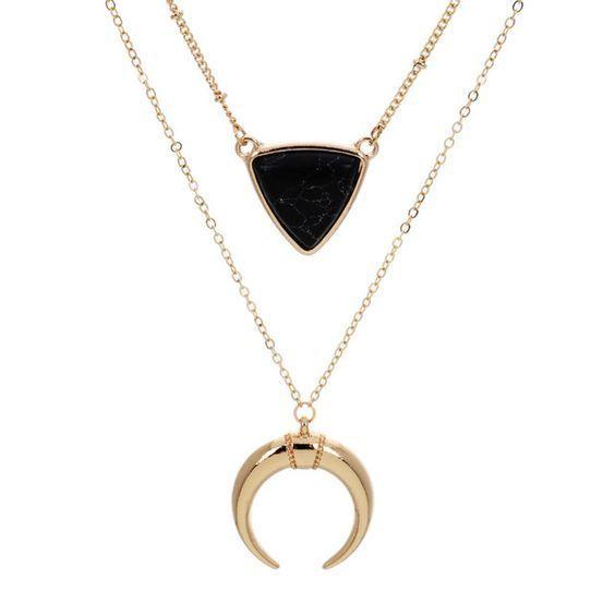 Ce collier créateur tendance est devenue l'incontournable de la saison. Ce collier multi rangs est composé de 2 colliers.
