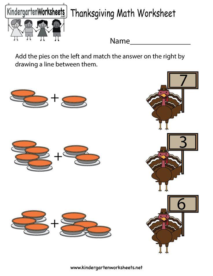 Kindergarten Thanksgiving Math Worksheet Printable