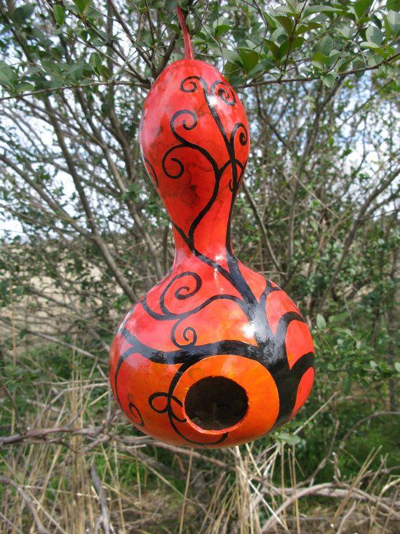 Handpainted Birdhouse Gourd by ThePurpleManikin on Etsy, $30.00
