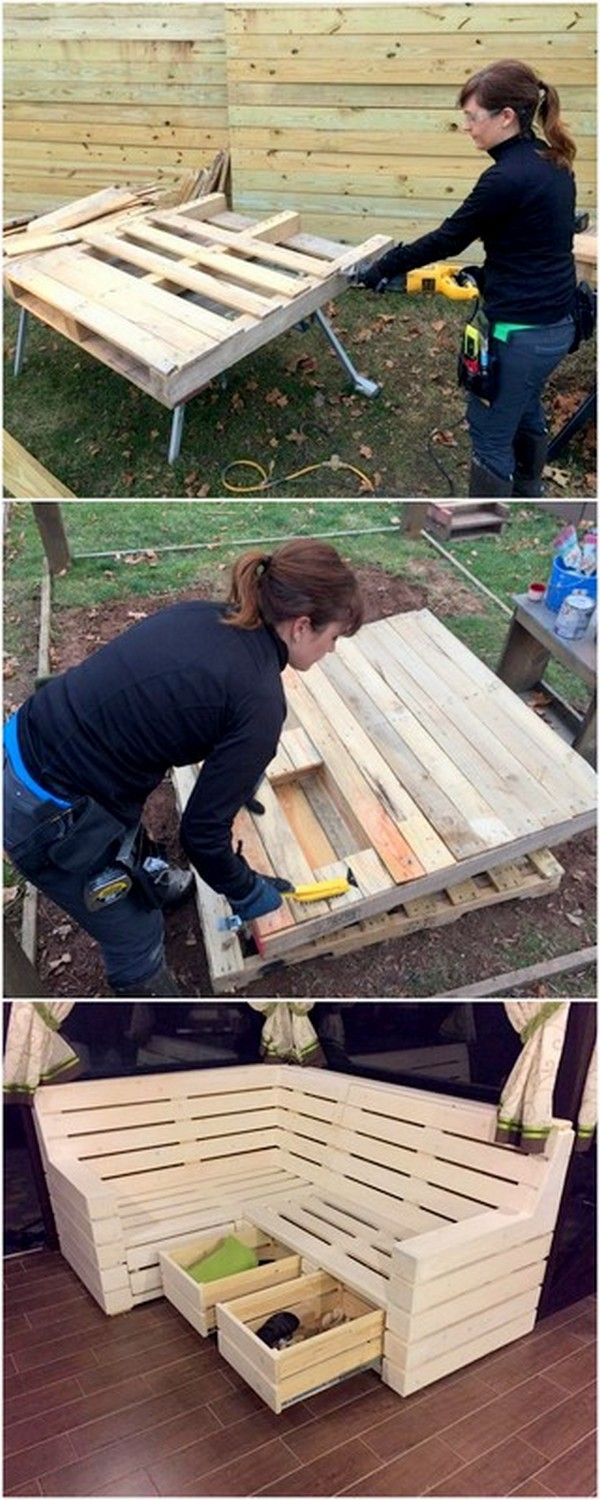 Idea Of Wooden Pallet Garden Bench With Drawers In 2020 Pallet Furniture Plans Pallet Furniture Outdoor Furniture Instructions