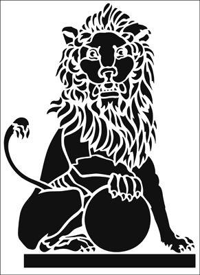 Lion stencil from The Stencil Library ARCHITECTURE range. Buy stencils online. Stencil code AR84.