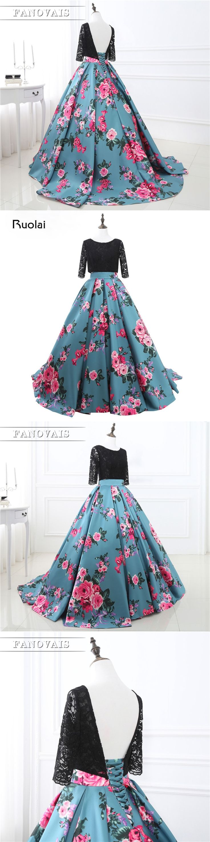 Fashion Real Photo Evening Dresses 2017 Half Sleeve Lace Top Floral Pattern Ball Gown Prom Dresses Long Printed Party Dress PD90