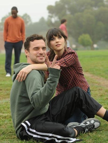 New Girl - Nick and Jess (& forever alone Winston in the background) (p.s., Winston is literally me.)