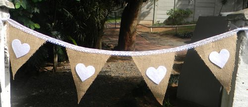 Hessian & White felt hearts