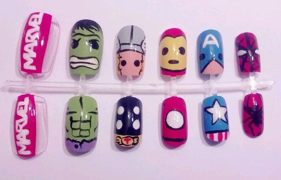 So cute!!  Avengers Nail Set by MaryMars on Etsy, $18.00: Nails Art, Comic Nails, Awesome Avengers, Marvel Nails, Marvel Comic, Heroes Nails, Nails Sets, Avengers Nails, The Avengers