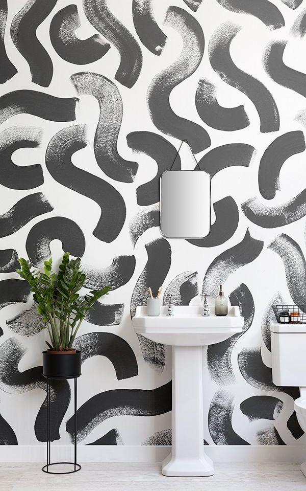 Black Brush Stroke Wallpaper Mural Muralswallpaper In 2020