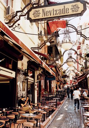 Istanbul , Turkey --   A quiet moment amid the many cafés and bars that line Nevizade Street.