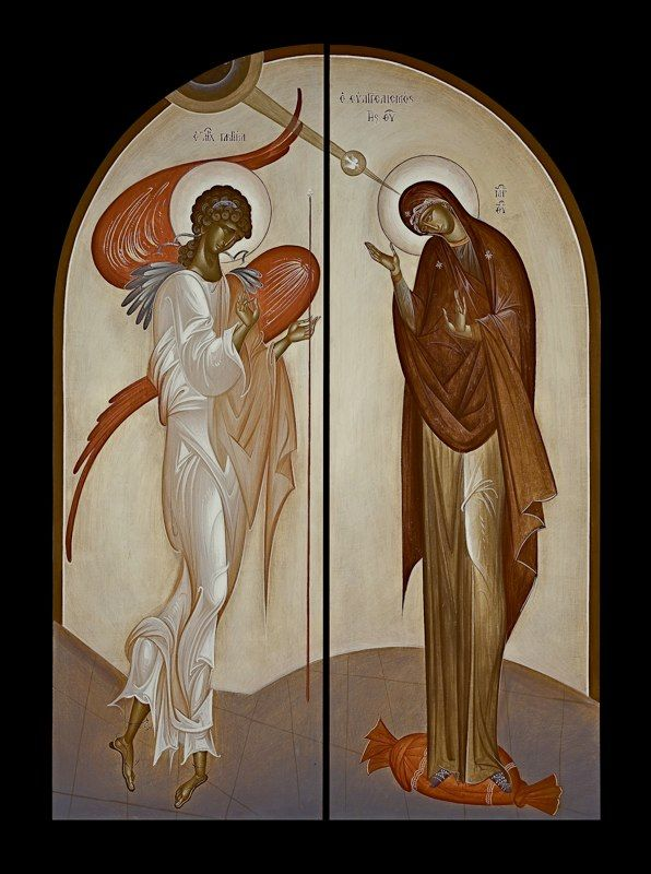"Annunciation, by George Kordis. Contemporary icon. Here we see an icon which at first glance might appear to be ""untraditional,"" but, in fact, is in accord with the ""mannerist"" example we've shown above."