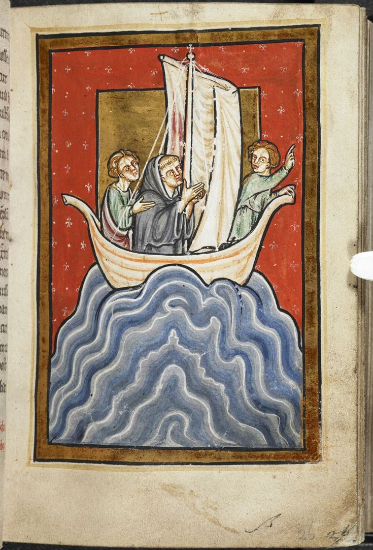 Miniature of St Cuthbert in a boat at sea, with two other men, from Chapter 11 ofBede's proseLife of St Cuthbert,England (Durham), 4th quarter of the 12th century,Yates Thompson MS 26, f. 26r