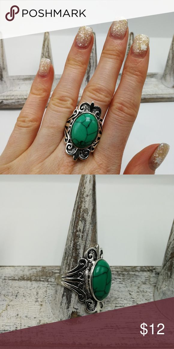 🌈🦄🌈 3 for $25 🌈🦄🌈 New with tags! Gorgeous Natural Gemstone White Buffalo Turquoise howlite Tibet Silver ring. Mixed metals. Lead and nickel free. Price is firm. No holds. Bundle to SAVE. R#2658 PLUS SIZE *GREEN/BLUE TURQUOISE* Jewelry Rings