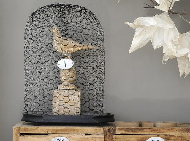 Chicken wire cloche - I might obessed with birds lately
