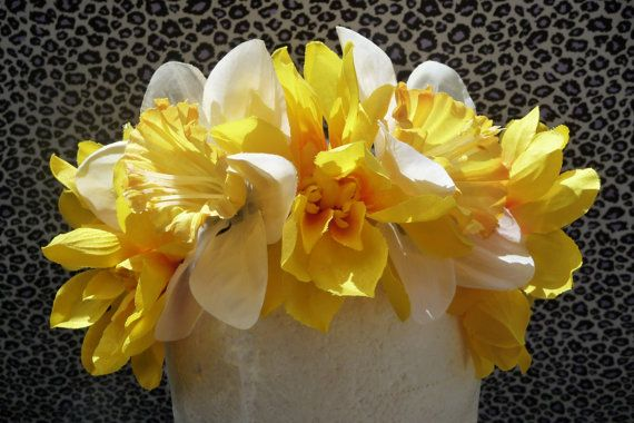 Hey, I found this really awesome Etsy listing at http://www.etsy.com/listing/155006082/yellow-daffodil-floral-crown-with-tie