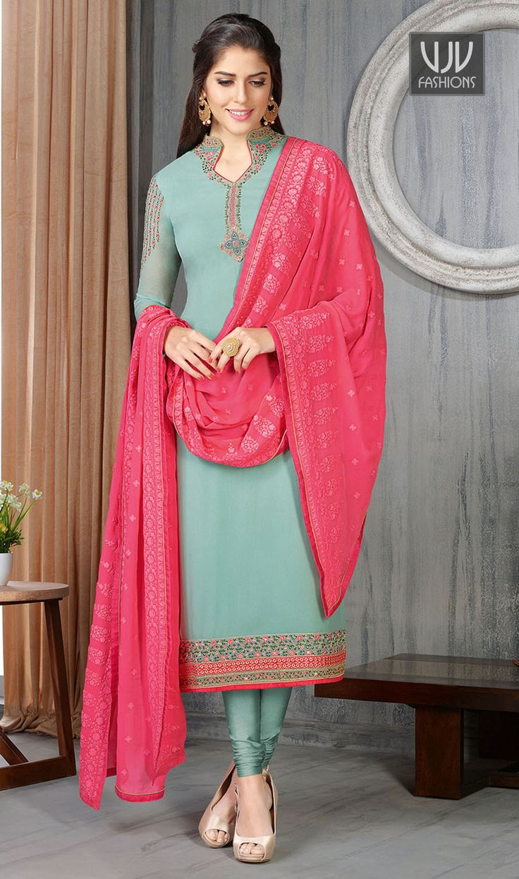 Haute Sea Green Faux Georgette Churidar Designer Suit  Genuine attractiveness comes out from your dressing style with this sea green faux georgette churidar designer suit. The enticing embroidered and resham work