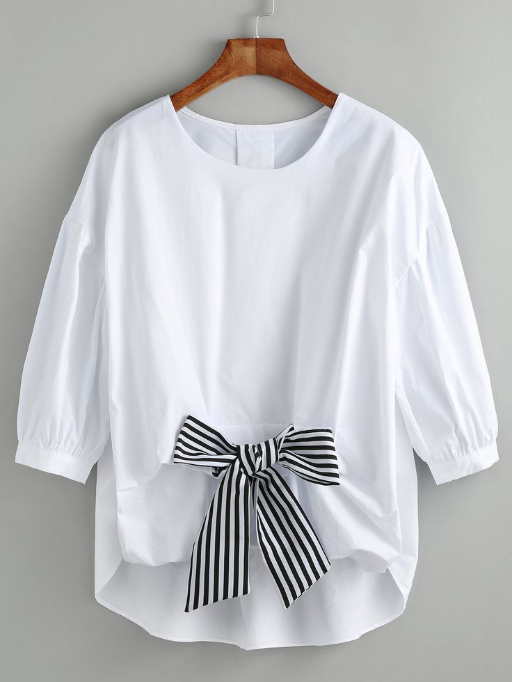 Shop White High Low Blouse With Contrast Bow online. SheIn offers White High Low…