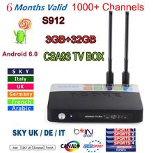 New CSA93 Android 6.0 TV BOX S912 2/16G 3/32GB Smart tv 6 month Arabic French UK portugal Italy iptv europe server 1000+Channels