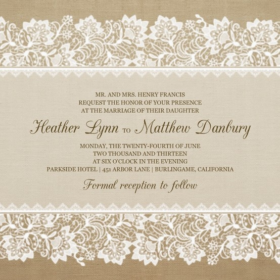 burlap and lace fonts invitations and colors. Black Bedroom Furniture Sets. Home Design Ideas