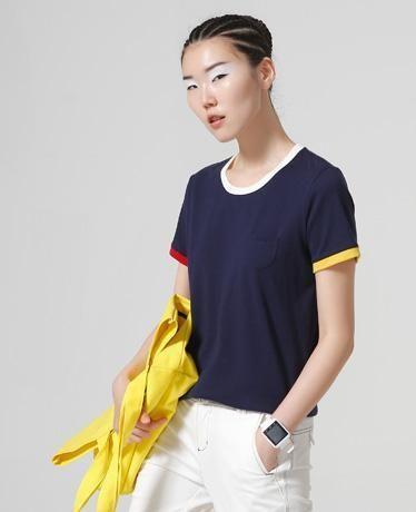 Hit Color Edge Tees For Women Basic Cotton T-Shirt Casual O-Neck Tee Shirt  Femme S~XXL Summer Tops Short Sleeve T-Shirts 78bc33b36